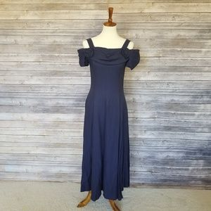 Vintage SCOTT MCCLINTOCK dark blue prom dress